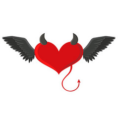 Red heart with devil horns and tail vector image vector image