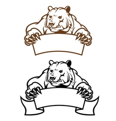 Wild kodiak bear with banner as a mascot isolated vector