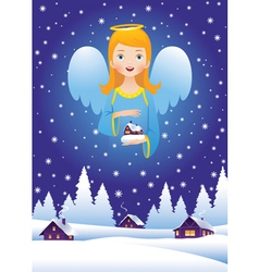 Christmas angel in the sky vector image