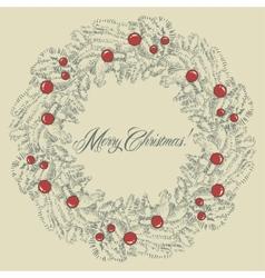 Christmas wreath frame vector image vector image