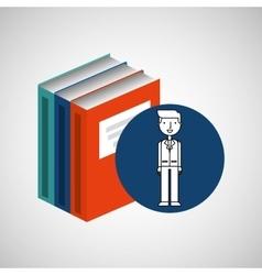 library books school man teacher vector image