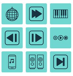 set of 9 audio icons includes sound box song ui vector image vector image