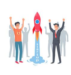 take-off rocket in startup happy and joyful men vector image