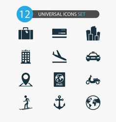 Traveling icons set with mastercard slalom vector