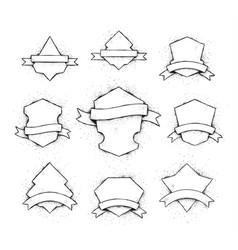 white shields set vector image