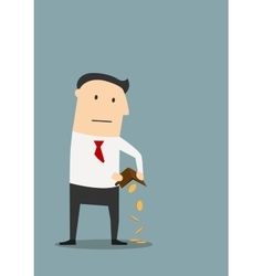 Bankrupt businessman with empty wallet vector