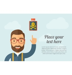 Man pointing the poisonous bottle icon vector image