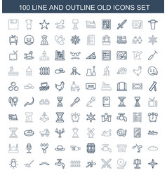 100 old icons vector