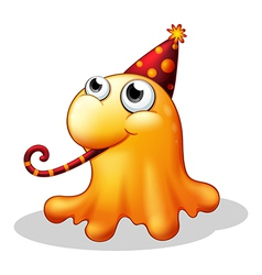 A monster wearing a party hat vector image