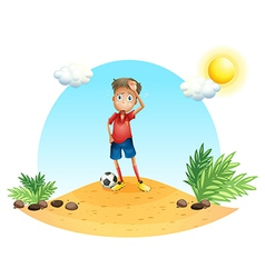 A tired soccer player vector image