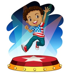 American boy jumping up on stage vector