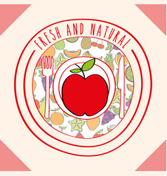 apple fresh and natural fruits food label vector image