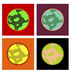 Assembly flat icons halloween full moon vector