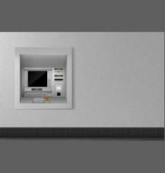 Atm automated teller machine on grey wall banking vector