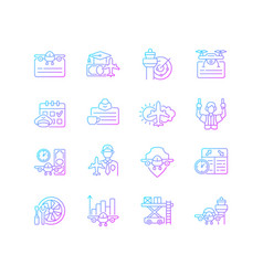 aviation gradient linear icons set vector image