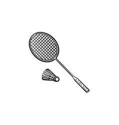 Badminton racquet and shuttlecock hand drawn icon vector