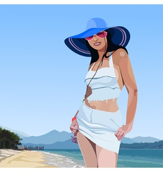 beautiful glamorous girl in broad brimmed hat vector image