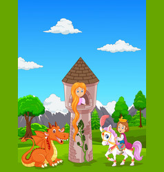 Beautiful princess with long hair at a castle and vector
