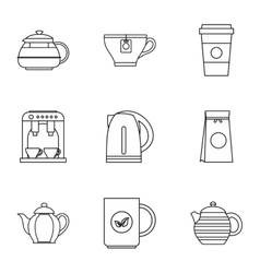 Beverage icons set outline style vector image