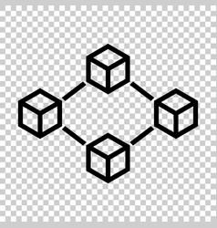 Blockchain technology icon in flat style vector