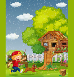 Boy and dog running in the park on rainy day vector