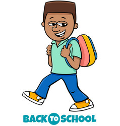 Boy student back to school cartoon vector
