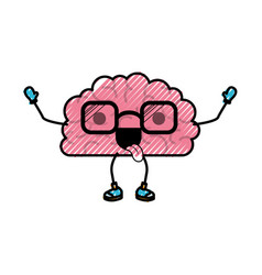 brain cartoon with glasses and funny expression in vector image