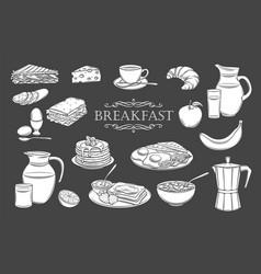 breakfast icons glyph vector image