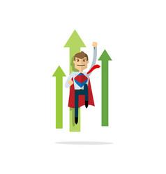 Businessman flying up like superman super hero vector