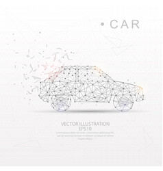 Car shape digitally drawn low poly wire frame vector