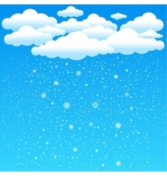 Cartoon clouds snow falls vector