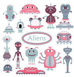 Cartoon set with flat aliens funny characters vector