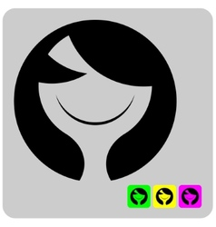 Cheerful stylized alien woman face vector