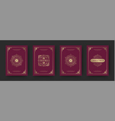 christmas greeting cards set vintage design vector image