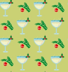Christmas seamless pattern with glasses of vector
