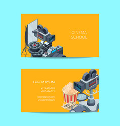 cinematograph business card of set template vector image