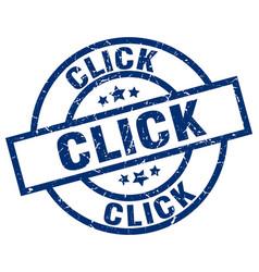 click blue round grunge stamp vector image