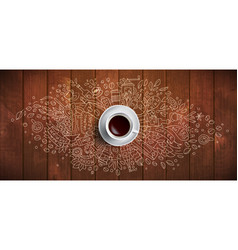 coffee concept on wooden background - white coffee vector image
