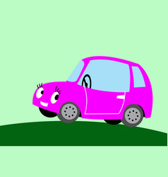 comic image a cute pink car vector image