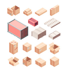 containers and boxes isometric set cardboard and vector image