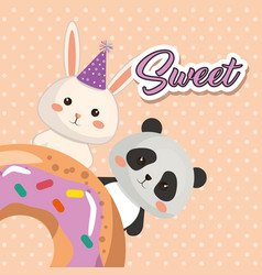 Cute bear panda and rabbit kawaii birthday card vector