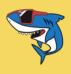 cute shark cartoon character with red glasses vector image