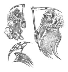 Death with scythe pencil sketch vector
