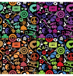 Different objects on black background vector image