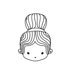 Dotted shape girl head with two bus hair design vector