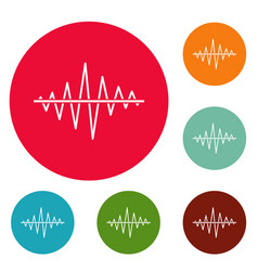 Equalizer voice radio icons circle set vector