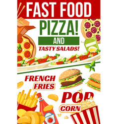 Fast food pizza popcorn and fries snacks menu vector