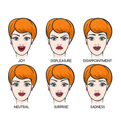 Female face expression set vector