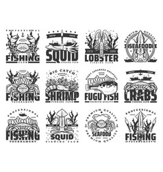 Fishing sport fish and seafood isolated icons vector