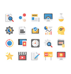 Flat icons set of seo and marketing vector